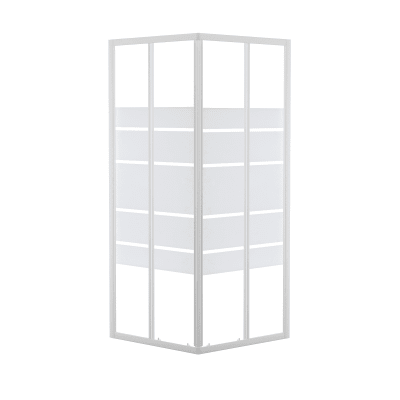 Box doccia scorrevole 80 x 80 cm, H 185 cm in alluminio e vetro, spessore 4 mm vetro di sicurezza serigrafato bianco