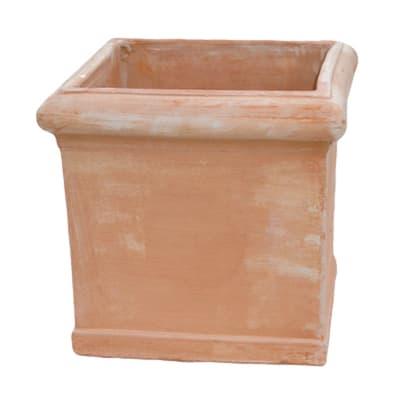 Vaso Cubo liscio in terracotta colore cotto H 30 cm, L 30 x P 30 cm