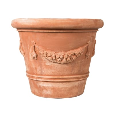 Vaso Festonato bordato in terracotta colore cotto H 110 cm, L 120 x P 120 cm