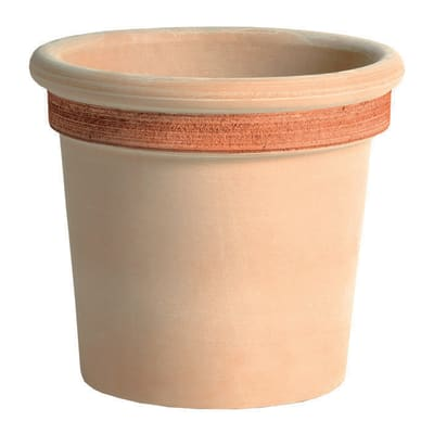 Vaso Milano graffiato in terracotta colore impruneta H 37 cm, Ø 43 cm