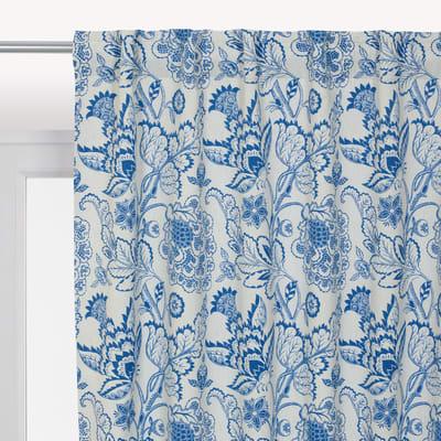Tenda INSPIRE Oscurante Flowers blu fettuccia con passanti nascosti 140x280 cm