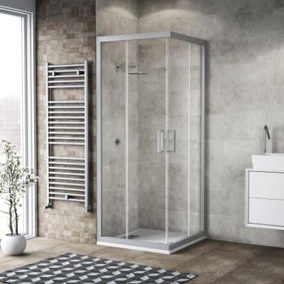 Box doccia quadrato scorrevole Charm 80 x 79 cm, H 200 cm in vetro temprato, spessore 6 mm trasparente argento