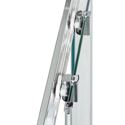 Box doccia scorrevole Dado 80 x 100 cm, H 185 cm in alluminio e vetro, spessore 5 mm vetro di sicurezza smerigliato cromato