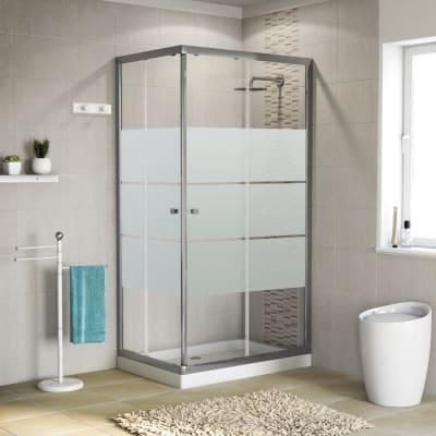 Box doccia rettangolare scorrevole Dado 90 x 90 cm, H 185 cm in vetro temprato, spessore 5 mm satinato cromato