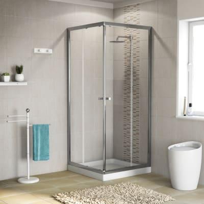 Box doccia quadrato scorrevole Dado 90 x 89 cm, H 185 cm in alluminio e vetro, spessore 5 mm trasparente cromato