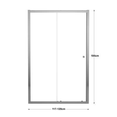 Porta doccia scorrevole Dado 120 cm, H 185 cm in vetro temprato, spessore 5 mm trasparente cromato