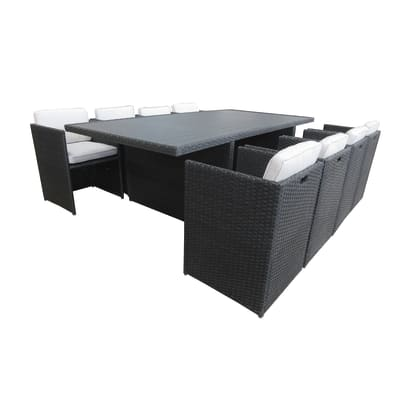 Set tavolo e sedie Kubik in rattan sintetico grigio / argento 6 posti