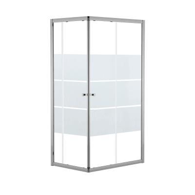 Box doccia rettangolare scorrevole Dado 70 x , H 185 cm in alluminio e vetro, spessore 5 mm vetro di sicurezza smerigliato cromato