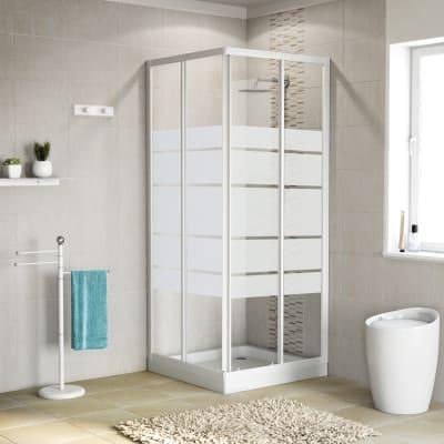 Box doccia scorrevole 90 x 90 cm, H 185 cm in alluminio e vetro, spessore 4 mm vetro di sicurezza serigrafato bianco
