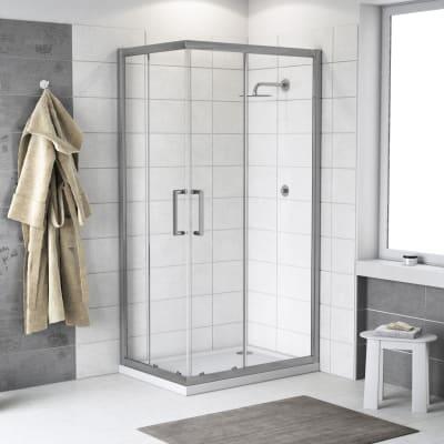 Box doccia rettangolare scorrevole Quad 70 x 90 cm, H 190 cm in vetro temprato, spessore 6 mm trasparente argento