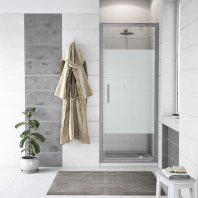 Porta doccia battente Quad 100 cm, H 190 cm in vetro, spessore 6 mm serigrafato cromato