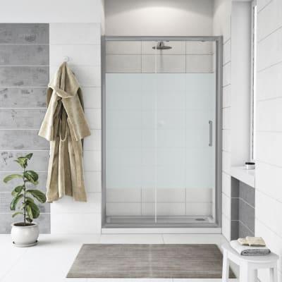 Porta doccia scorrevole Quad 140 cm, H 190 cm in vetro, spessore 6 mm serigrafato cromato