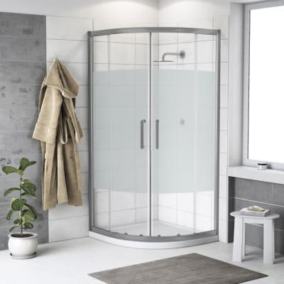 Box doccia semicircolare scorrevole Quad 80 x 80 cm, H 190 cm in vetro temprato, spessore 6 mm serigrafato argento