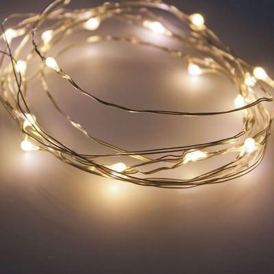 Catena luminosa 40 lampadine LED bianco caldo 0.3 m