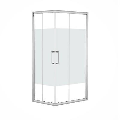 Box doccia rettangolare scorrevole Quad 70 x 90 cm, H 190 cm in vetro temprato, spessore 6 mm serigrafato argento