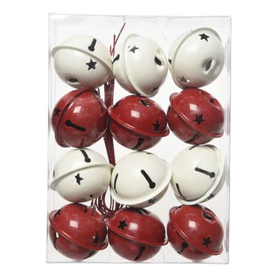 Set 12 campane in metallo in due versioni assortite bianche e rosse Ø 4 cm