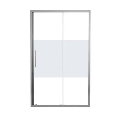 Porta doccia scorrevole Record 120 cm, H 195 cm in vetro temprato, spessore 6 mm serigrafato argento