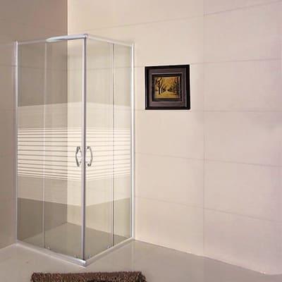 Box doccia quadrato 80 x 80 cm, H 185 cm in vetro temprato, spessore 4 mm serigrafato argento