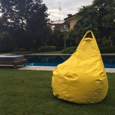 Pouf Pera idrorepellente giallo / dorato 100x70cm