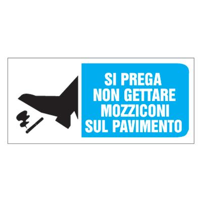 Cartello segnaletico No mozziconi pvc 31 x 14 cm