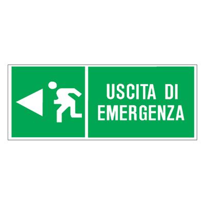 Cartello segnaletico Uscita di emergenza pvc 31 x 14 cm