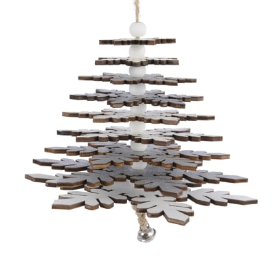 Albero di Natale da appendere glitter in legno H 24 cm Ø 13 cm