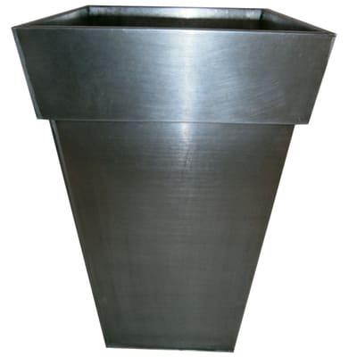 Vaso Quadro Alto in fibra di vetro colore titanio H 70 cm, L 42 x P 42 cm