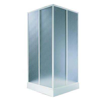 Box doccia rettangolare scorrevole Aqva 80 x 90 cm, H 180 cm in alluminio, spessore 1.5 mm acrilico piumato bianco