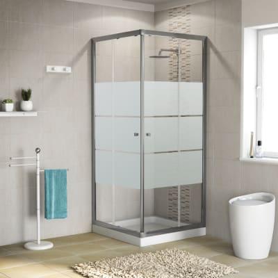 Box doccia quadrato scorrevole Dado 80 x 79 cm, H 185 cm in vetro temprato, spessore 5 mm serigrafato cromato