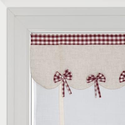Tendina vetro Anika bianco e rosso tunnel 60 x 230 cm