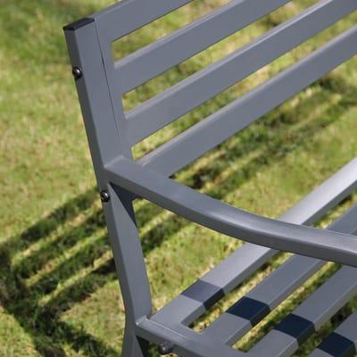 Panca Park con braccioli in acciaio colore grigio 3