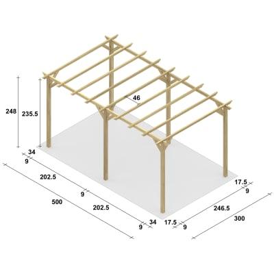 Pergola Apple in legno marrone L 500 x P 300 x H 248 cm