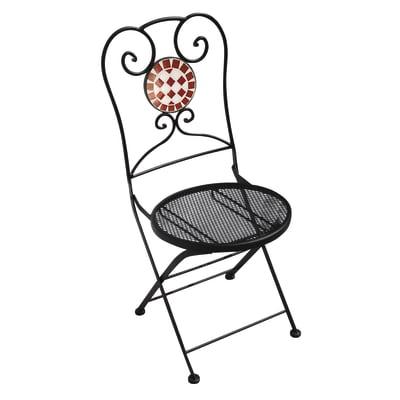 Sedia pieghevole in ferro Mosaico colore nero