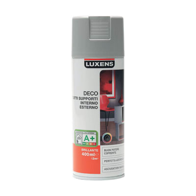Smalto spray LUXENS Deco grigio sasso lucido 0.0075 L