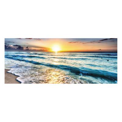 Quadro in vetro Waves In The Sunset 125x50 cm