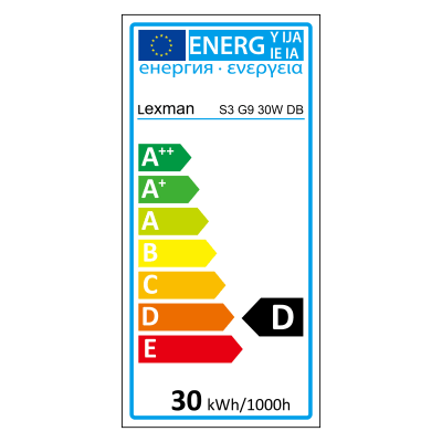 Lampadina Alogena G9 a u giallo 30W = 410LM (equiv 40W) 5° LEXMAN