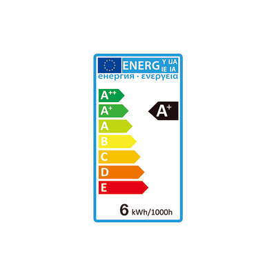 Lampadina LED GU10 riflettore bianco caldo 6W = 450LM (equiv 50W) 100° LEXMAN, 6 pezzi
