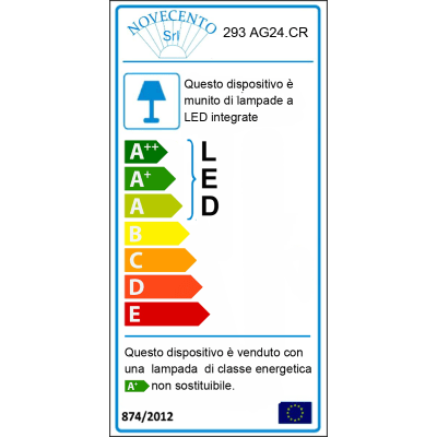 Applique Dedra multicolor, in plastica, 55 cm, LED integrato 18W