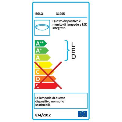 Plafoniera Roncade cromato lucido, in metallo, 13x130 cm, diam. 65, LED integrato 26W 2400LM IP20 EGLO