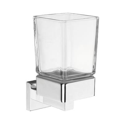 Bicchiere porta spazzolini Quaddro in vetro bianco