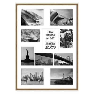 Cornice Diagonal per 10 fotografie 13 x 18  legno sbiancato