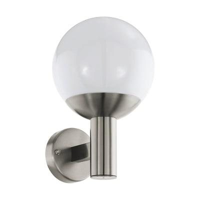 Applique NISIA-C in acciaio inox, grigio metallizzato, 9W 806LM IP54 EGLO