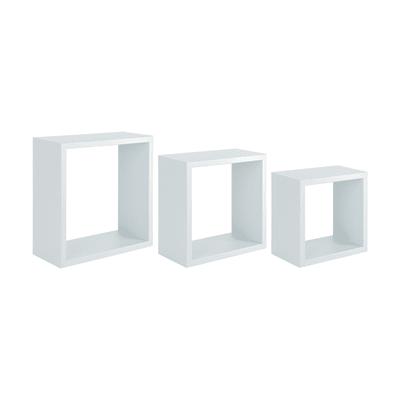 Set di 3 pezzi, Mensola a cubo Spaceo L 30 x H 30 cm, Sp 12 mm bianco