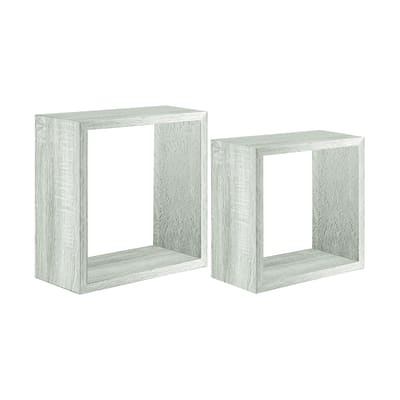 Mensola a cubo L 35 x H 35 cm, Sp 22 mm rovere sbiancato