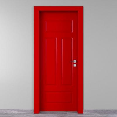 Porta a battente Coconut Groove rosso L 90 x H 210 cm sinistra