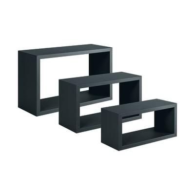 Mensola a cubo Spaceo L 45 x H 27 cm, Sp 15 mm nero