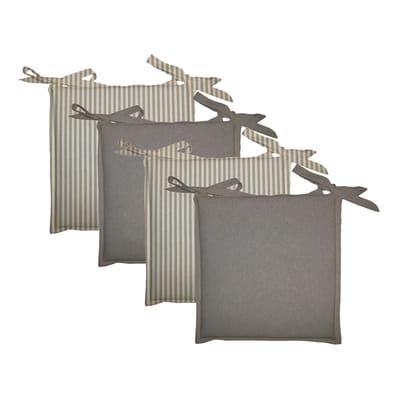 Cuscino per sedia Regina grigio/bianco 40x40 cm, 4 pezzi