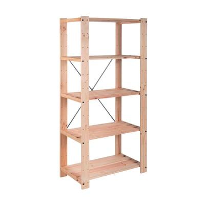 Scaffale in legno in kit 5 ripiani L 76.7 x P 43 x H 174.2 cm naturale