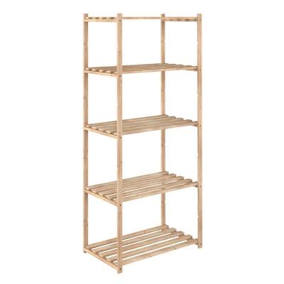 Scaffale in legno in kit 5 ripiani L 65 x P 40 x H 171 cm naturale