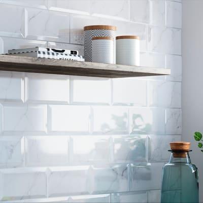Rivestimento Biselado Carrara L 20 x H 10 cm bianco